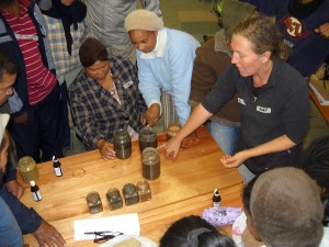 Alex Kruger sharing soil testing skills with women on the Cape Flats in Cape Town, South Africa