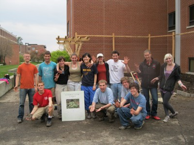 The lively work crew that amended the soil for the garden!